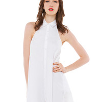 Pointed Flat Collar Halter Backless A-Line Mini Dress