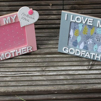 2 Matching personalised Photo Frames for Godmother and Godfather with your own message added.