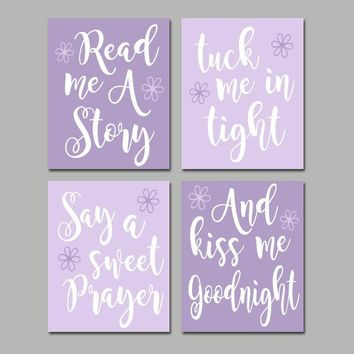 Lavender Lilac Nursery Wall Art, CANVAS or Print, Nursery Quote Decor, Read Me A Story, Kiss Me Goodnight, Rhyme Quote, Crib Decor, Set of 4