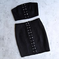 After Midnight Lace-Up Suede Crop Top in More Colors