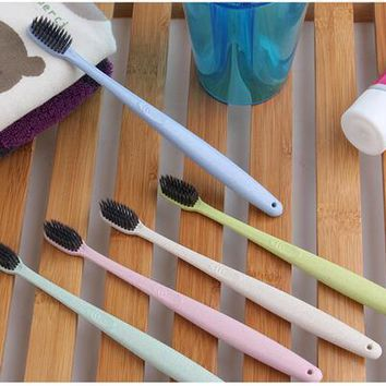 Portable Travel Toothbrush Soft Bamboo Charcoal Wheat Stalk Handle Oral Care Nano-antibacterial Toothbrush  Random Color