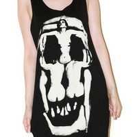 Womens Skull Illusion Charcoal Black Tank Top Punk Indie Rock Size M
