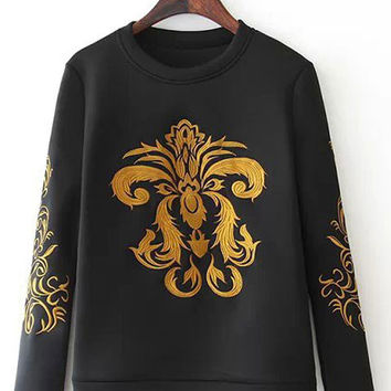 Black Embroidered Long Sleeve Sweatshirt