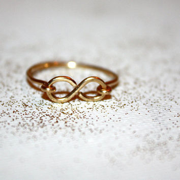 gold amare - 14k gold infinity ring by lilla stjarna - gifts under 50 - Valentine's Day - knuckle stack stacking stackable layering ring