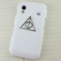 White Hard Case Cover With Deathly Hallows Harry Potter For Samsung Galaxy Ace S5830