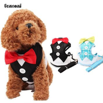 Dog Red Bowtie Tuxedo Harness With Leash