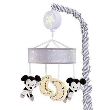 Lambs & Ivy Disney Baby Mickey Mouse Gray/Yellow Baby Crib Musical Mobile