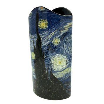 Van Gogh Starry Night Blue Museum Art Ceramic Flower Vase 10.25H
