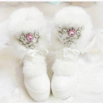 Real Rabbit Fur Winter Boots Rhinestones Diamond Fashion Snow Boots Thick Warm High-To