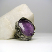 Jewelry by AMW - Statement Ring - Cocktail Ring - Natural Stone Big Purple Amethyst Ring