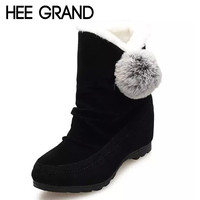 HEE GRAND Fashion Winter Women's Cotton Shoes Height Increasing Women Ankle Boots With Sweet Fur Ball XWX2401