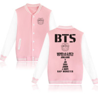 """BTS"" print long sleeve coat Button women and man pink"