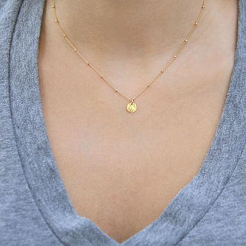 Gold Coin Necklace, Dainty Gold Necklace, Satellite Chain Necklace, Gold Disc Necklace, Simple Gold Necklace, Minimalist Necklace
