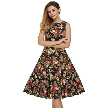 Floral Swing Summer Dress in Black with Red and White Flowers