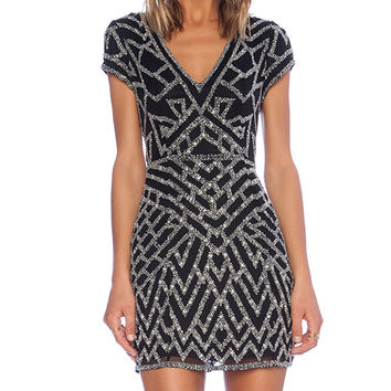 Parker Serena Sequin Dress in Black