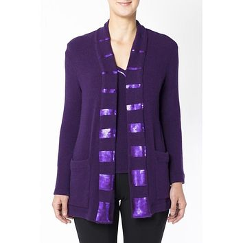 Long purple cardigan in wool and angora with striped pailettes on the front and on the neckline