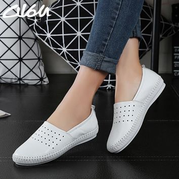 O16U women Espadrilles flats shoes Genuine leather cut out slip on Ladies Ballet Flats