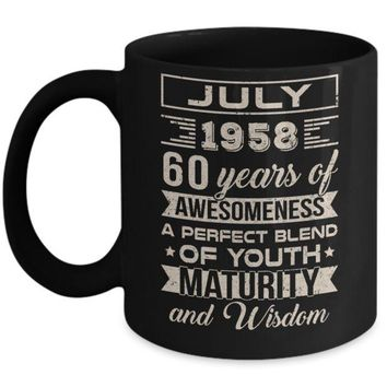 DCKIJ3 Classic Vintage Limited July 1958 60th Birthday Mug