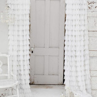 Couture Dreams Chichi Solid Petal Window Curtain, White