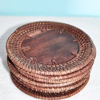 Set of 4 Rattan and Wood Coasters