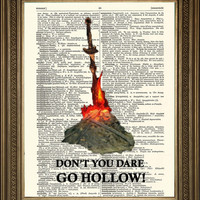"""DARK SOULS PRINT: Bonfire, Don't You Dare Go Hollow, Vintage Dictionary Page Wall Hanging Print (8 x 10"""")"""