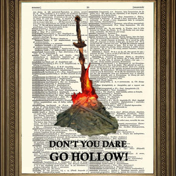 "DARK SOULS PRINT: Bonfire, Don't You Dare Go Hollow, Vintage Dictionary Page Wall Hanging Print (8 x 10"")"