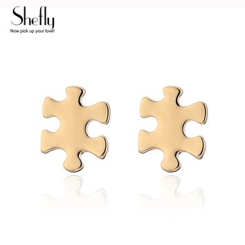 Pendientes Mujer Moda 2018 Simple Minimalist Design Tiny Puzzle Stud Earrings Women As Gift For Best Friend Boucle D'oreille