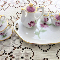 Tea Set  Miniature Mini Doll Porcelain China Ceramic Hand painted