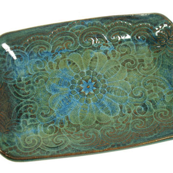 Blue Green Ceramic Dish, Jewelry Dish, Ceramic Lace Dish, Blue Pottery Dish, Boho Decor, Green Copper Dish, Blue Green Pottery, Candy Dish