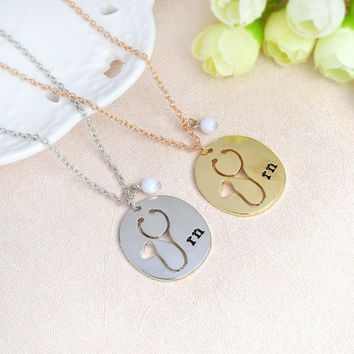 Stethoscope nurse RN pendant necklace jewelry