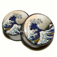 """The Great Wave Plugs - 1 Pair - Sizes 2g, 0g, 00g, 7/16"""", 1/2"""", 9/16"""", 5/8"""", 3/4"""", 7/8"""" & 1"""""""