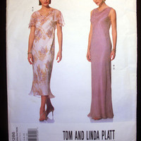 Vogue Designer Evening Dress & Slip Misses' Size 6, 8, 10 Vogue 2286 Sewing Pattern Uncut Designed by Tom and Linda Platt