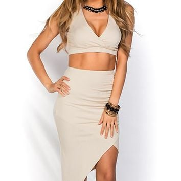 Sheri Nude Zipper Detail Jersey Crop Top Two Piece Dress