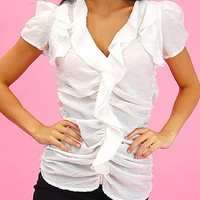 Clothing for less Ruffle Top (White)