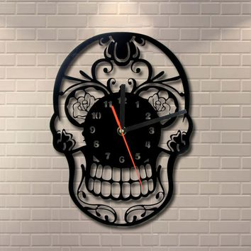 Free Shipping 1Piece The Day of Death Mexican Skull Ornament Quartz Ring Face Vintage Art Home Decor Wall Clock