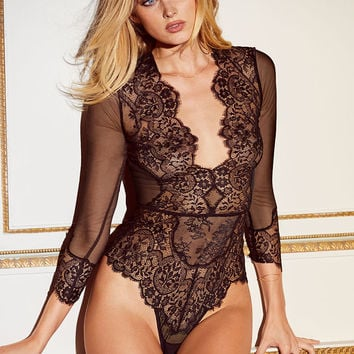 Long-sleeve Plunge Teddy - Beautiful by Victoria's Secret - Victoria's Secret