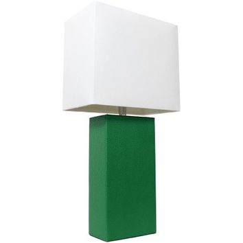 Elegant Designs Modern Green Leather Table Lamp - Walmart.com