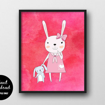 Rabbit Nursery Printable, Girl with Toy, Animal Kids Print, Baby Girl Wall Decor, Rabbit Woodland Art, Animal Nursery Decor, Kids Wall Art