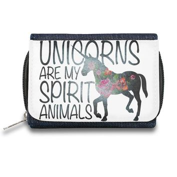 """Unicorns Are My Spirit Animals""  Zipper Wallet