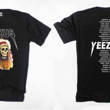 yeezus shirt yeezus tour shirt indian kanye west tour tshirt double side clothing unisex size S,M,L,XL,XXL,and 3XL Black and white