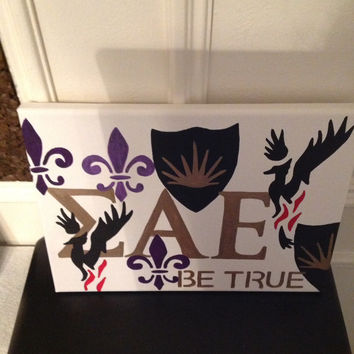 Sigma Alpha Epsilon Greek Fraternity Canvas hand-painted sign, wall hanging, letters