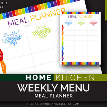 Weekly Menu, Meal Planner days of the week, Week Menu, Kitchen Printable Planner, DIY Colorful Binder Organizer || Household PDF Printables