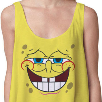Sponge Bob Print Sleeveless Cropped Tank Top