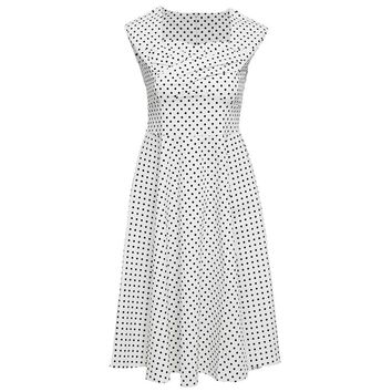 Vintage Sweetheart Neck Sleeve Polka Dot Print A-Line Pin Up Dress for Women