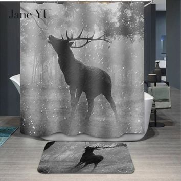 Forest Elk Waterproof and Mildewproof Polyester Printing Shower Curtains Bathroom Covering Curtains Customizable free