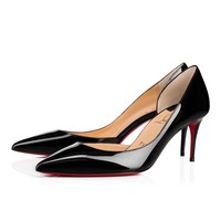 Best Online Sale Christian Louboutin Cl Iriza Black Patent Leather 70mm Stiletto Heel