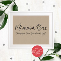 Mimosa Bar Sign Printable-Bubbly Bar Sign-Wedding DIY Cocktail Bar-Stylish Hand Lettered Script Sign-Personalized Rustic Chic Bar Sign