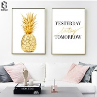 Gold Pineapple Wall Art Poster and Print Canvas Paintings for Living Room Decor Scandinavian Quote Minimalism Bedroom Decor