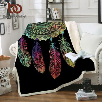 BeddingOutlet Dreamcatcher Sherpa Throw Blanket Bohemian Mandala Sherpa Fleece Blanket on the Bed Sofa Colorful Plaid Bedspread