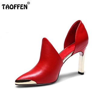 women real genuine leather stiletto pointed toe high heel